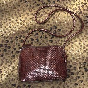 TALBOTS Brown leather woven Crossbody handbag